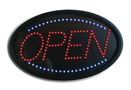 LED OPEN SIGN BLUE RED OVAL #LED4