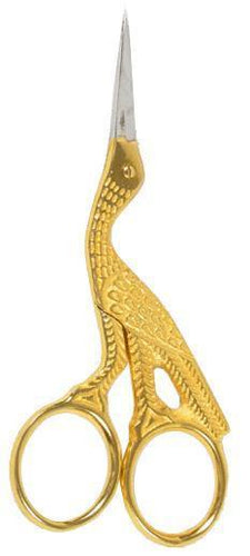 Stork Scissors Gold Plated 4.5