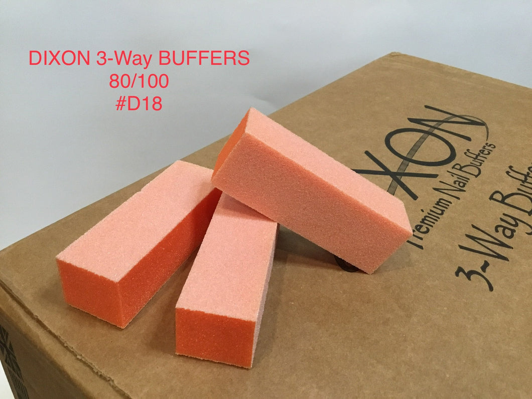 D18 Dixon buffer 3 way Orange White grit 80/100 500 pcs-Beauty Zone Nail Supply