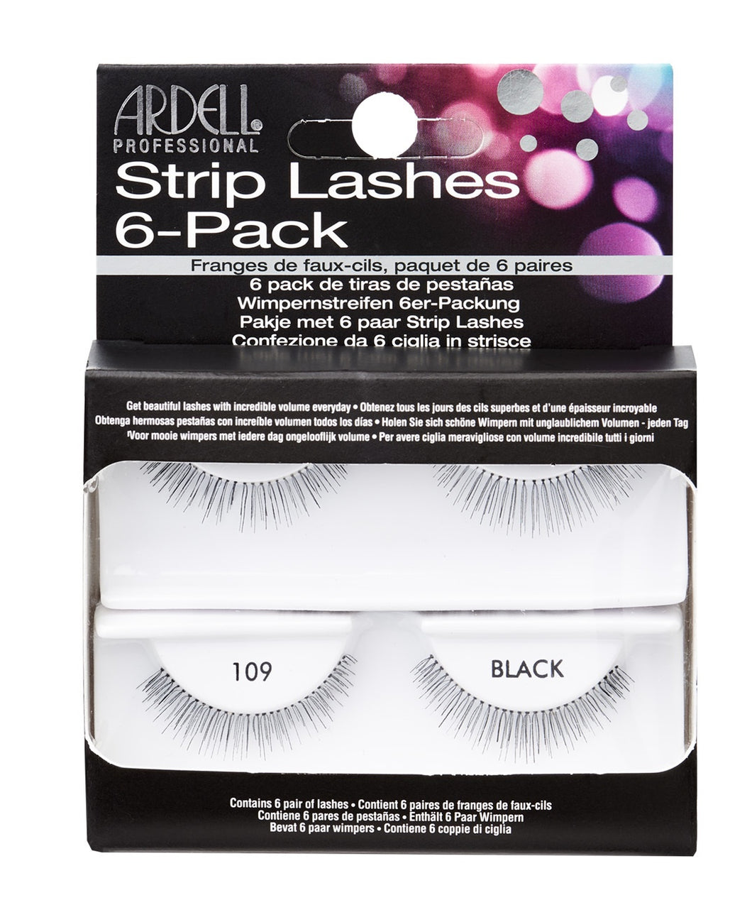 Ardell Natural False Eyelashes #109 6-Pack Black #60069-Beauty Zone Nail Supply