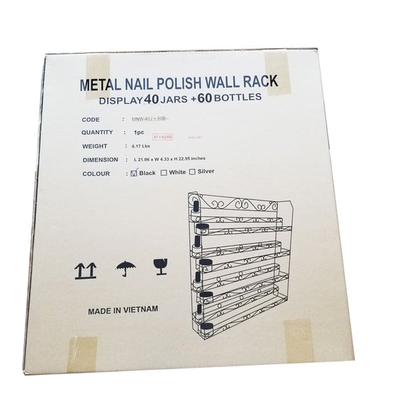 WR001 Wall Rack METAL 60 Bottle 40 JARS BLACK