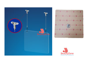 "Hanging Anti Virus Shield Divider Spa or Cashier 24.5"" x 24.5"" x 5 mm"