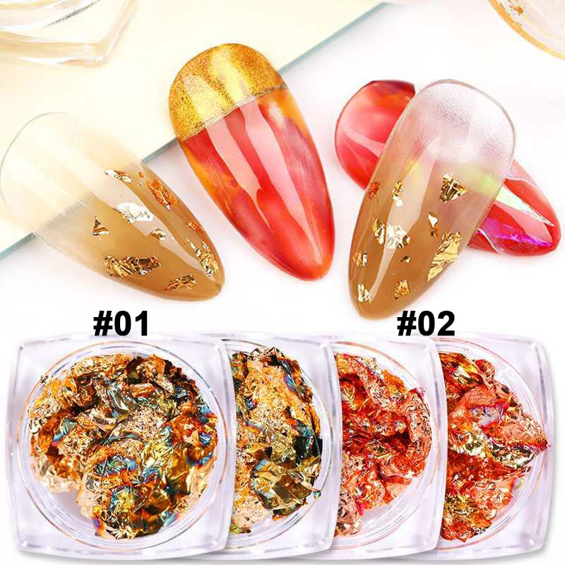 12 Color Mix Foil Gold Nail Art Flakes Design Set-Beauty Zone Nail Supply