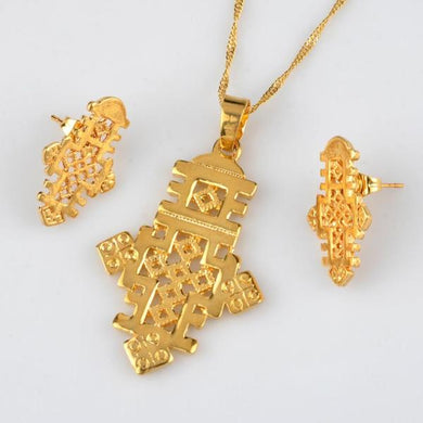 Ethiopian Cross Necklace & Earrings