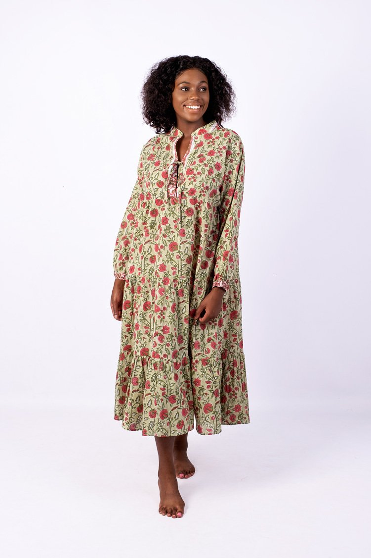 Isabelle Boho Dress, Sage and Pink Floral