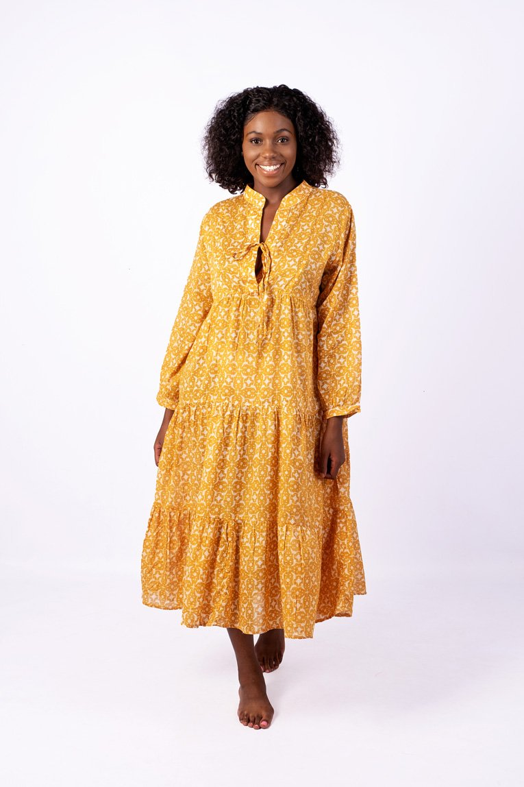 Isabelle Boho Dress, Saffron Yellow Floral
