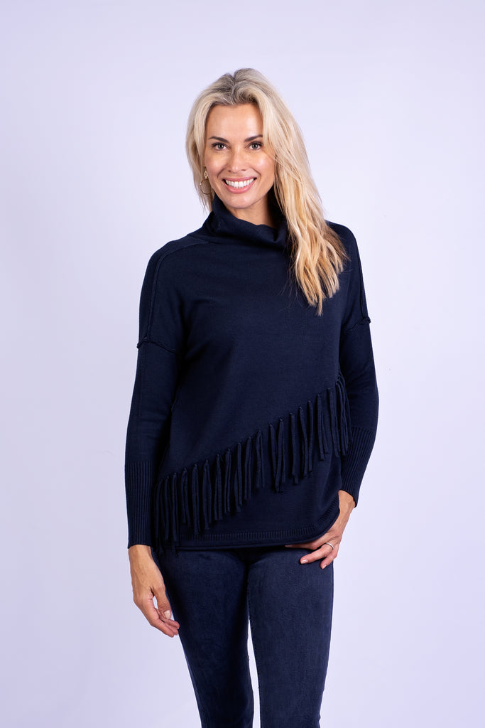 Long Poloneck Fringe Jersey, Petrol blue