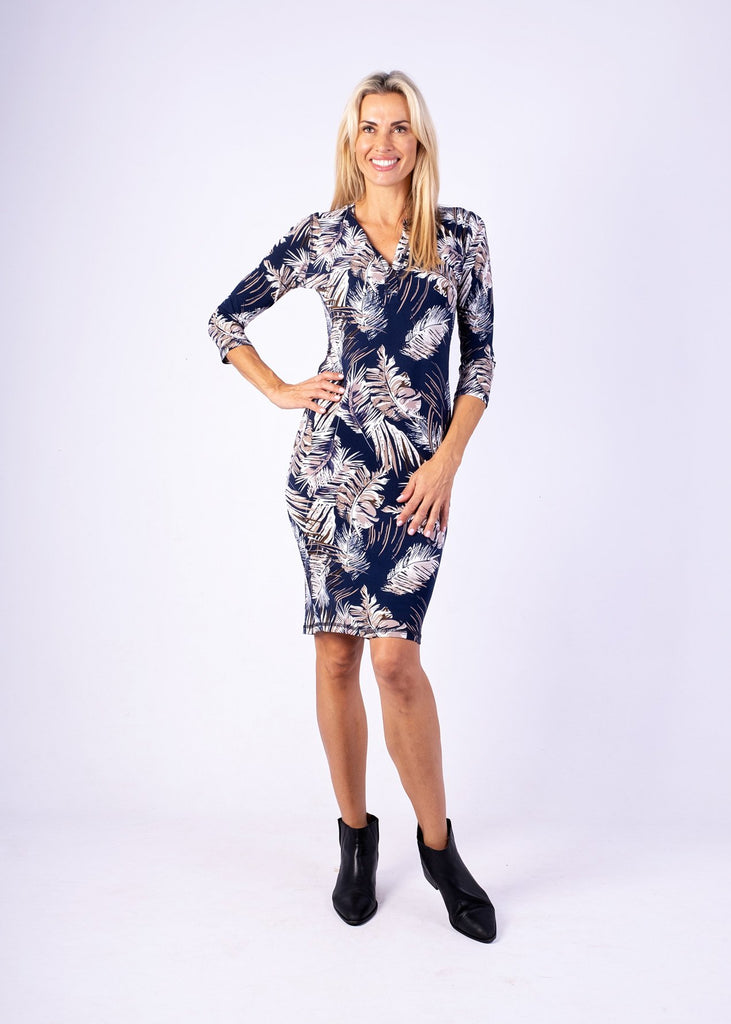 Iconic Dress, Navy and taupe fern