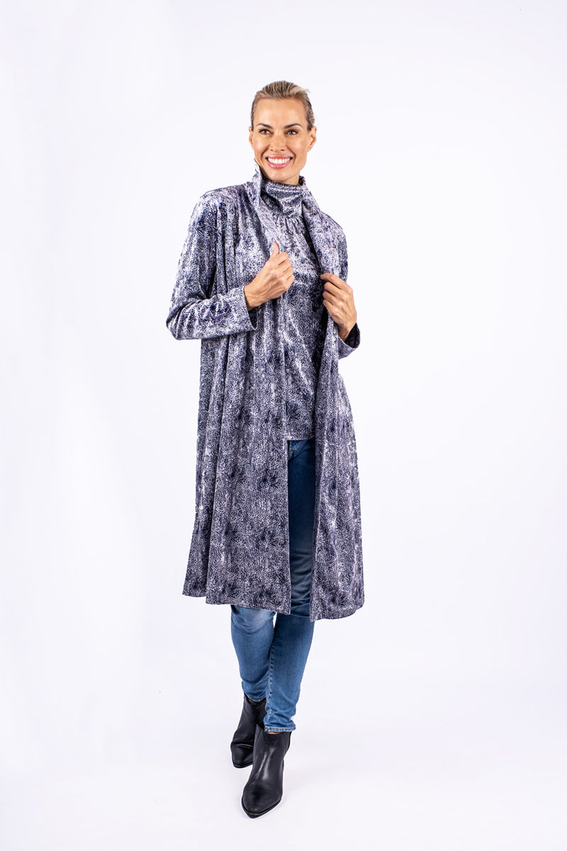 Roll Collar Midi Coat, Light grey snake