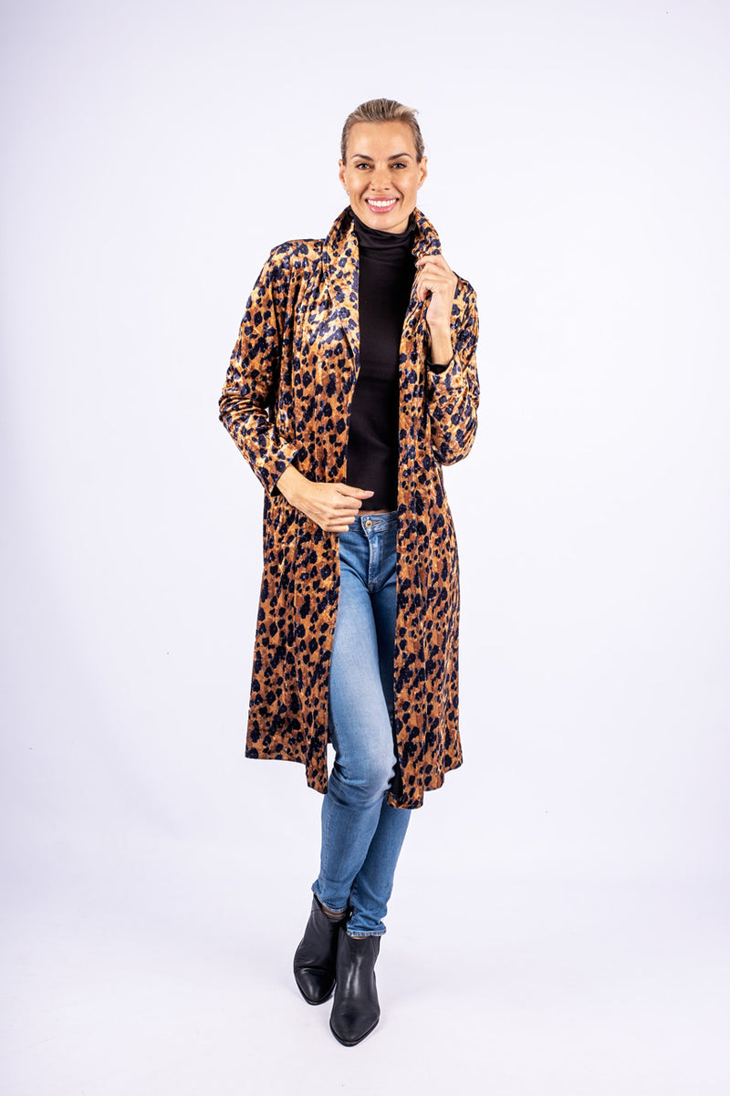 Roll Collar Midi Coat, Leopard Print