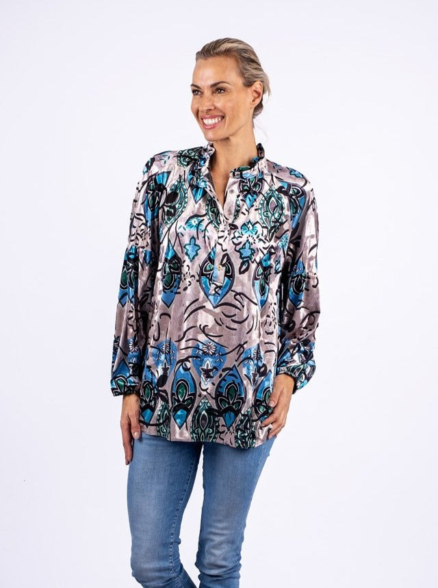 Ruffle Neck Blouse, Silver & Cobalt abstract