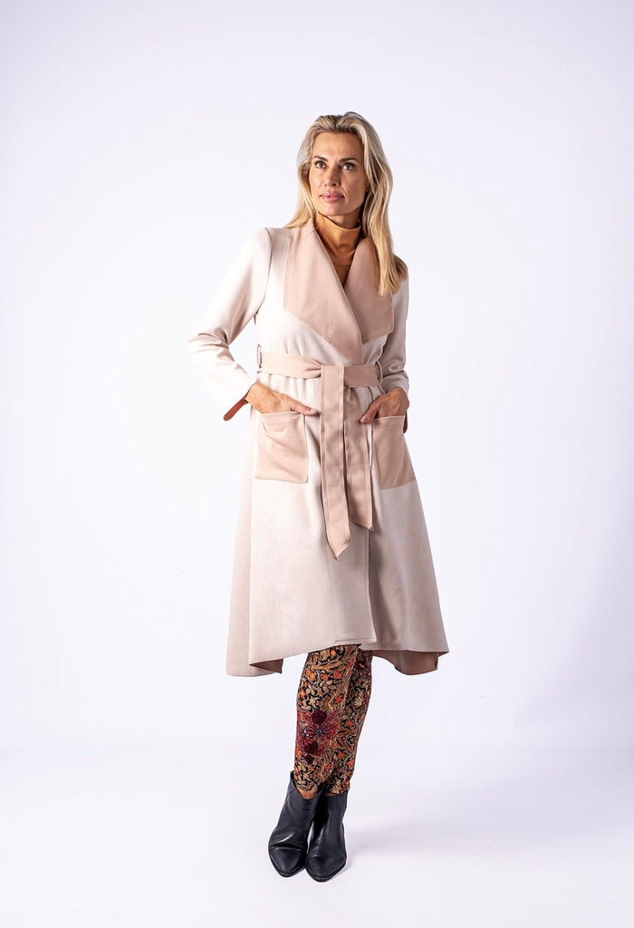Mandy coat in Milk with soft blust contrast