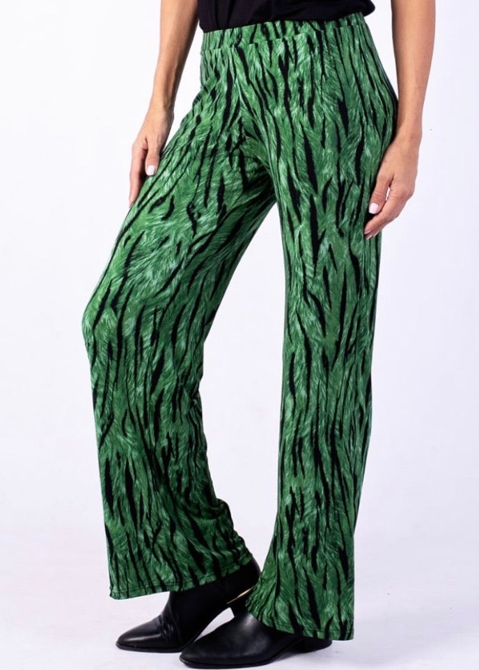 Straight leg elasticated emerald zebra pants