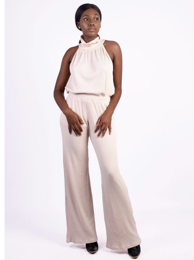 Rayon ribbed wide leg pants Milk colour