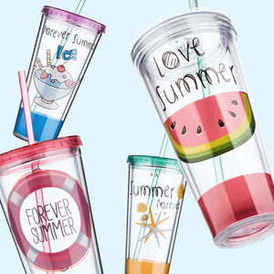 Fashionable Fun Double Layer Plastic Travel Mug With Straw