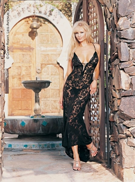 L357 - 2 Pc Spanish Lace Long Gown by Leg Avenue