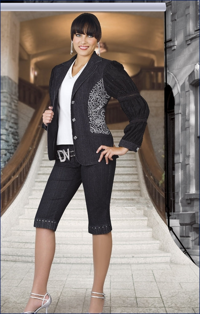 C385 - 2 Pc Exquisite Ladies Denim Suit by Donna Vinci