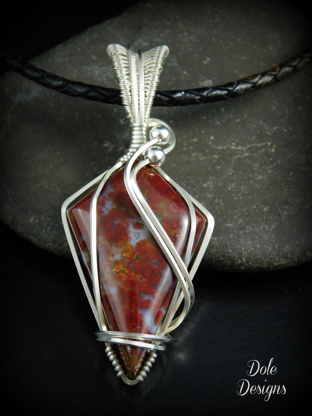 Red Moss Agate Wrapped Sterling Silver Pendant