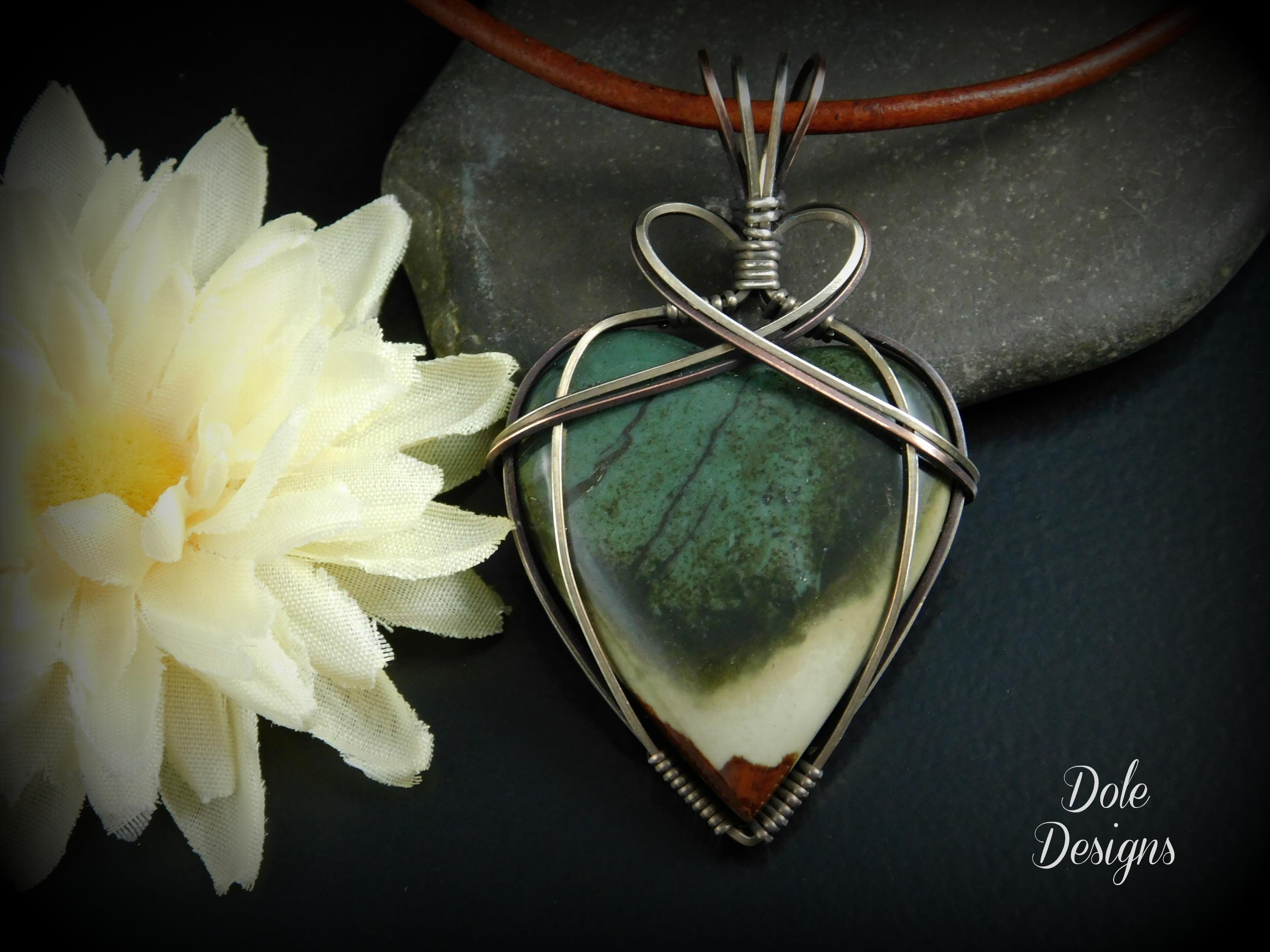 Wrapped Mixed Metal Polychrome Heart Cabochon Pendant