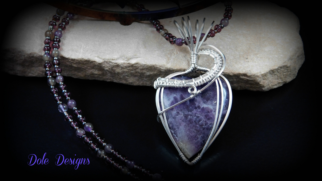 Stunning Sterling Wrapped Amethyst Heart Necklace