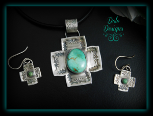 """Daily Deal"" Gorgeous Carico Lake Turquoise Southern Cross Pendant and Earring Set"