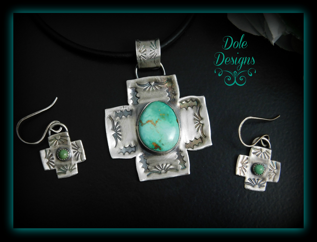 Gorgeous Carico Lake Turquoise Southern Cross Pendant and Earring Set