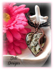 Chrome Calcedony Heart Pendant