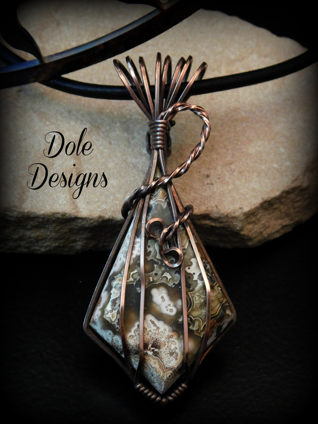 Crazy Lace Copper Wrapped Pendant