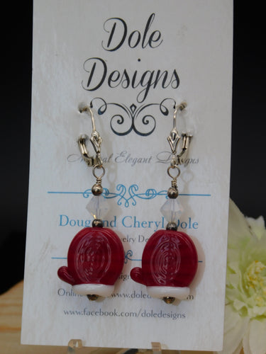 Red Mitten Glass Bead Earrings