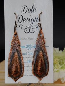 Long Hand Stamped Copper Earrings