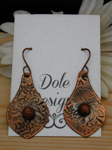 Copper Dangle Pear Earrings