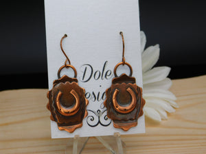 Dangle Copper Horseshoe Earrings