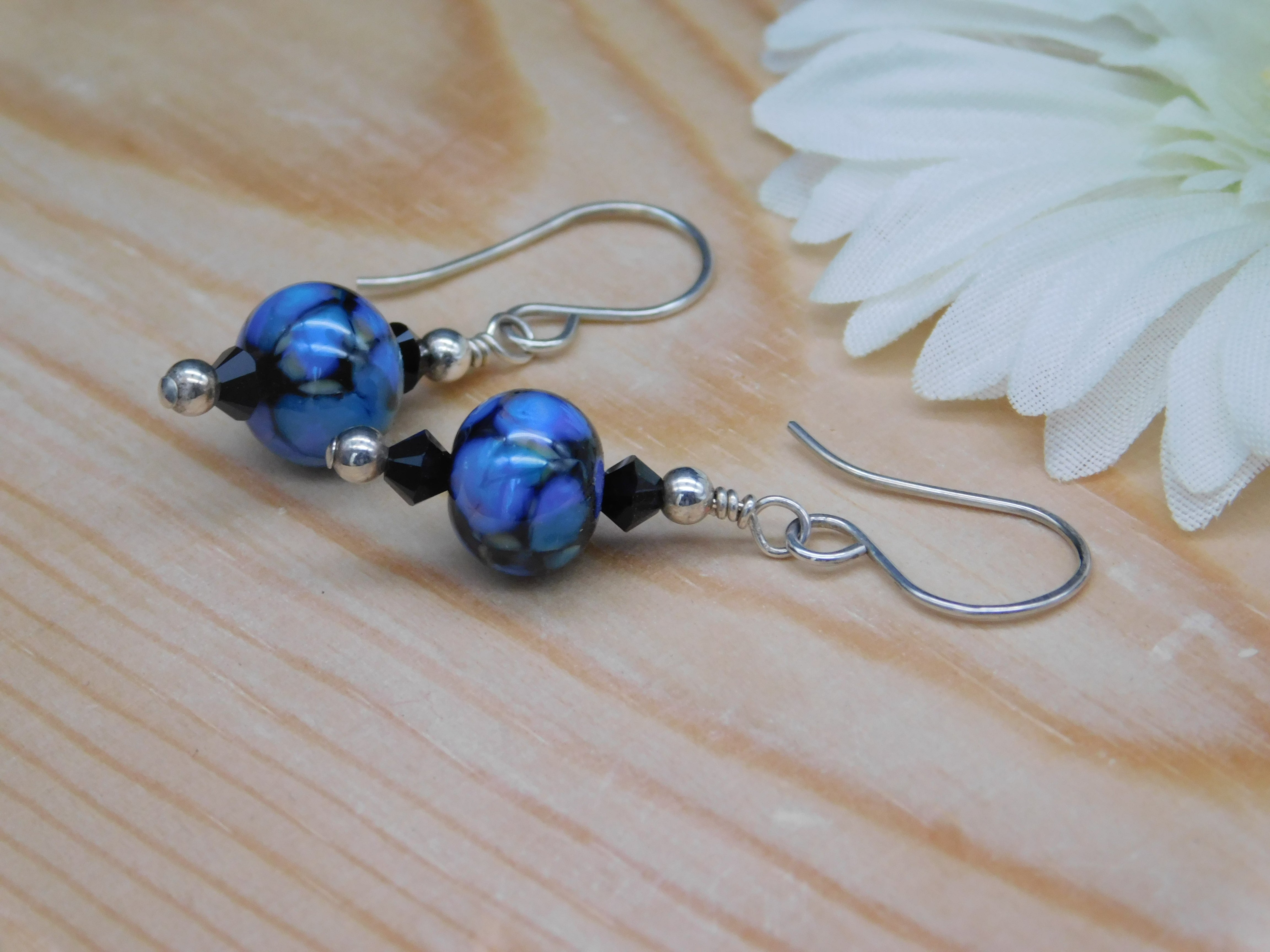 Blue Lampwork Glass Bead Earrings