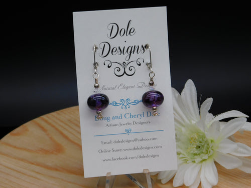 Purple Lampwork Glass Bead Earrings