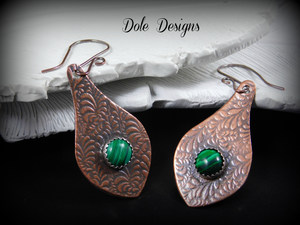 Beautiful Copper and Malachite Drop Earrings