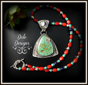 Elise Turquoise and Lapis Pendant with Beaded Necklace