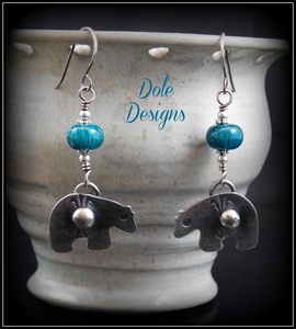 Zuni Fetish Bear Earrings