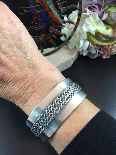Fine Silver Cuff Bracelet with Sterling Filigree