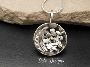Sterling Sliver Flower & Leaf Mystery Bowl Necklace