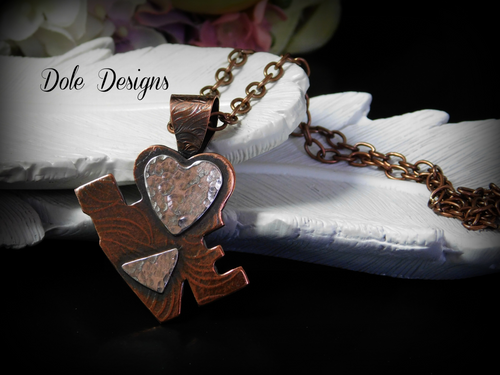 Mixed Metal Love Necklace with Heart