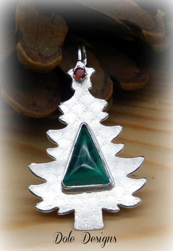 Malachite Sterling Christmas Tree Necklace