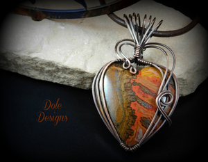 Moroccan Agate Copper Wrapped Heart Necklace