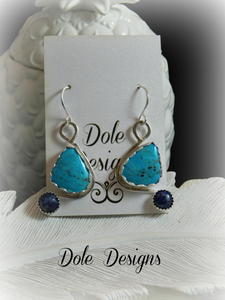 Turquoise and Lapis Statement Earrings