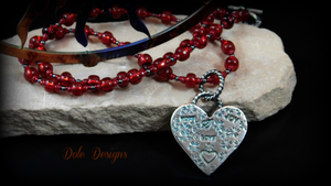 Love, Hope, Joy Fine Silver Beaded Heart Necklace