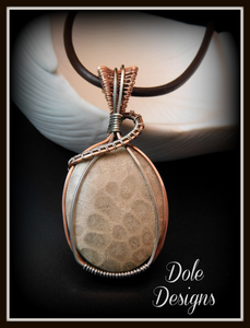 Coral Petoskey Mixed Metal Wrapped Pendant