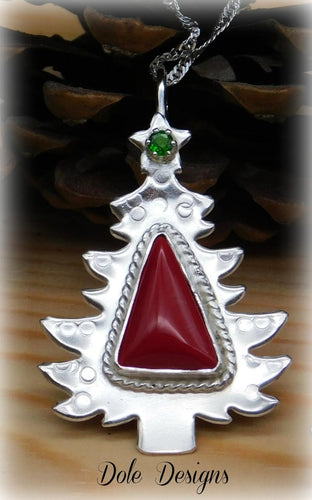 Red Slag Glass Sterling Christmas Tree Necklace