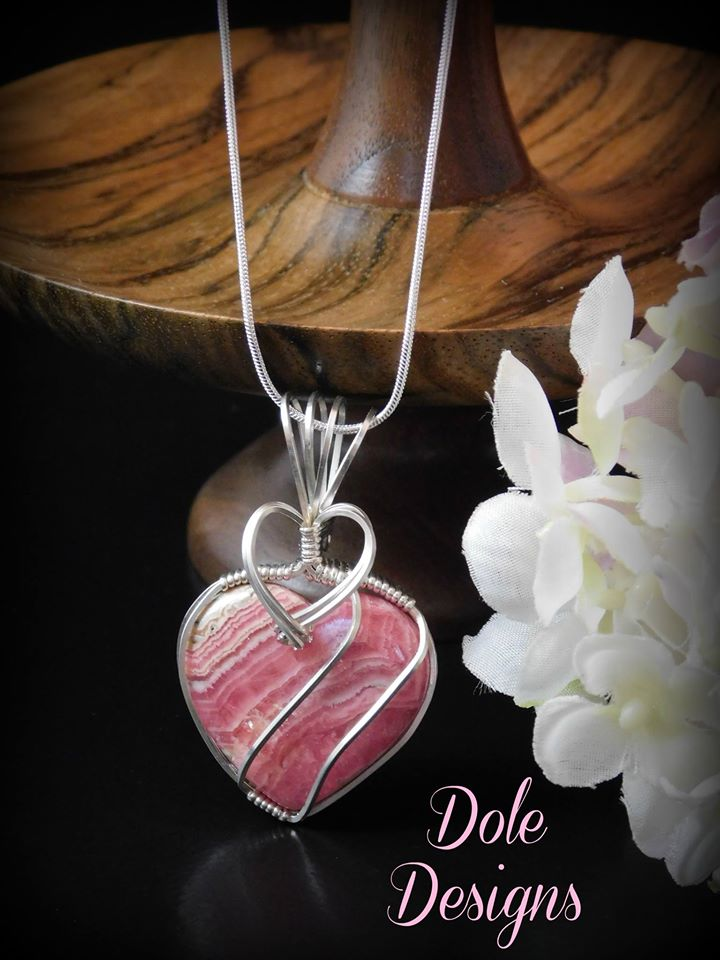 Rhodocrosite Gemmy Heart in Sterling Silver Pendant