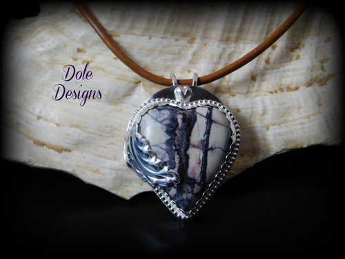 Stunning Silver Si Fi Jasper Heart Necklace