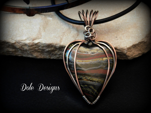 Mixed Metal Wrapped Tiger Iron Pendant