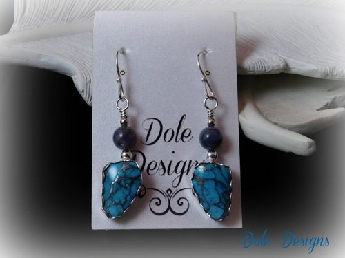 Tanzanite and Blue Bronze Mohave Matrix Earrings